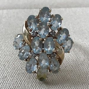 10k Yellow Gold Aquamarine Vintage Ring